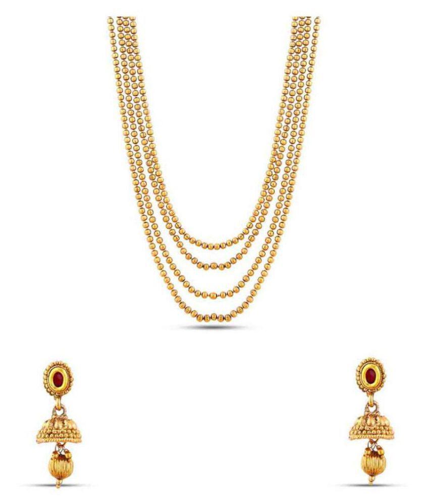 Maalyaa Brass Kundan Long Necklace Set for Women & Girls