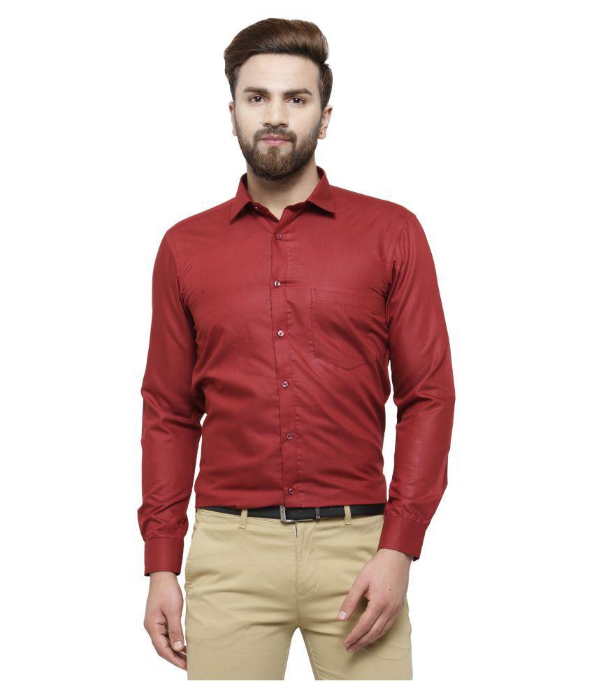 RG Designers Maroon Slim Fit Formal Shirt