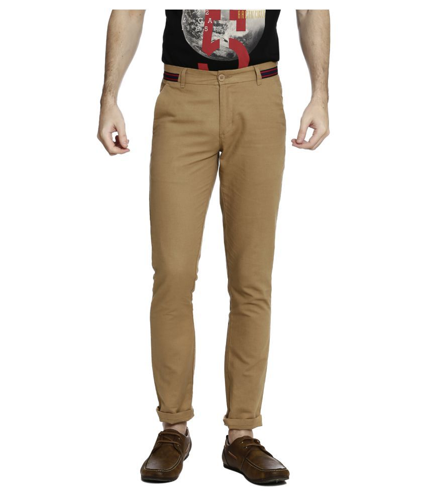 United Colors of Benetton Brown Slim -Fit Flat Trousers