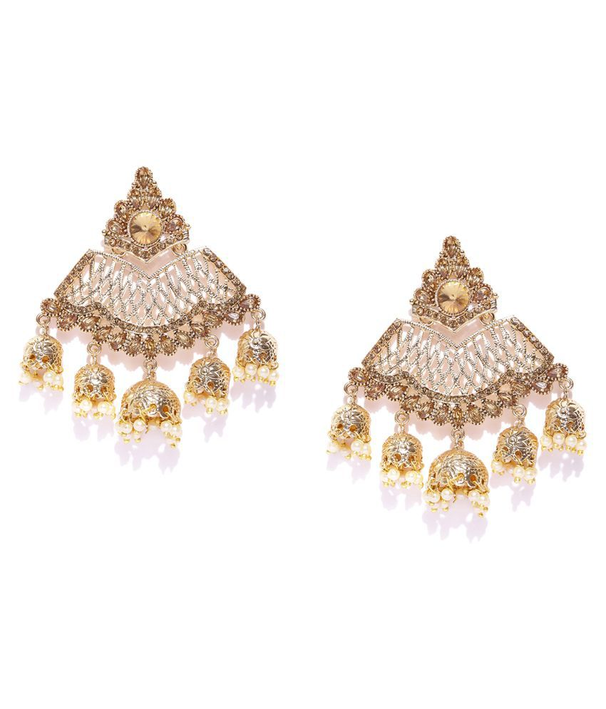 Zaveri Pearls Gold Tone Ethnic Earring With Dangling Jhumki Drops-ZPFK6726