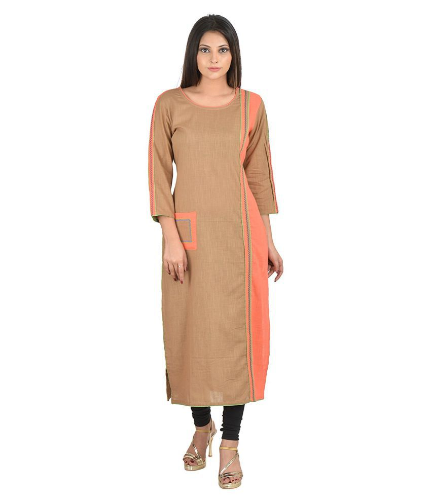 priya's Tan Cotton Straight Kurti
