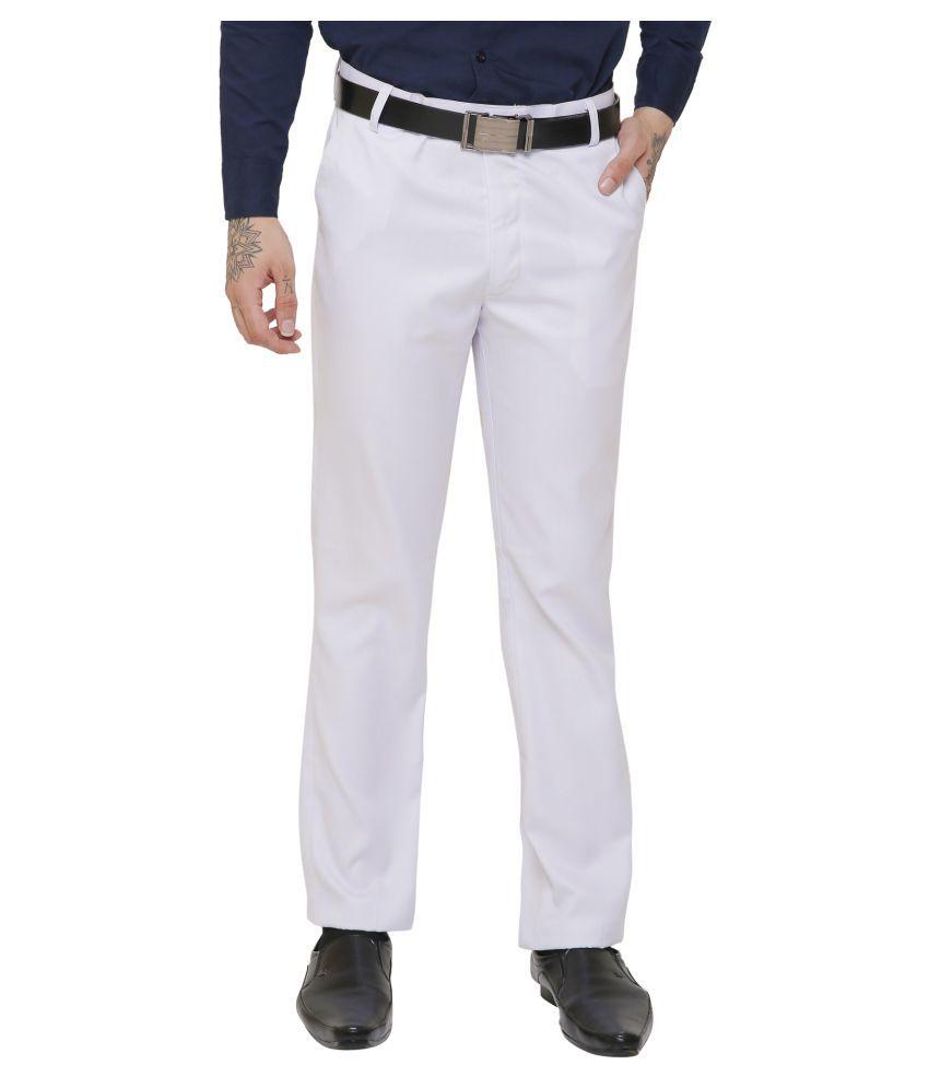 AD & AV White Regular -Fit Flat Trousers