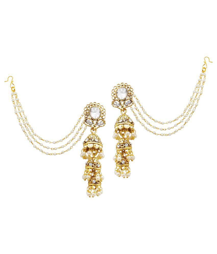 JewelMaze White Austrian Stone Gold Plated Pearl Jhumki Kan Chain Earrings-AAA3043