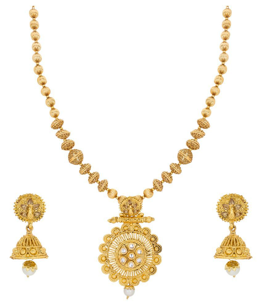 Aadita Ethnic Gold Plated Heavy Haram Choker Traditional Necklace set with Earrings for Women and Girls