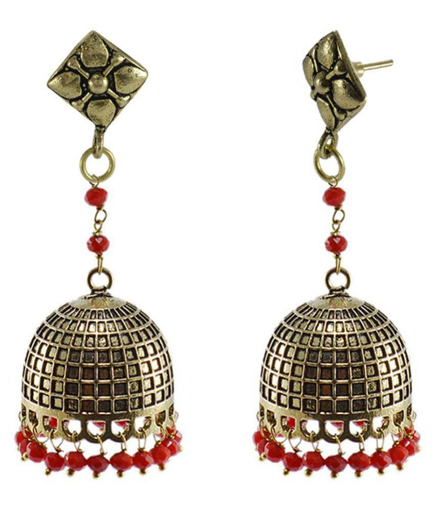 Bollywood Belly Dance Women Party Wear Studs Jhumki Chandelier Earring With Small Red Crystals PG-126878