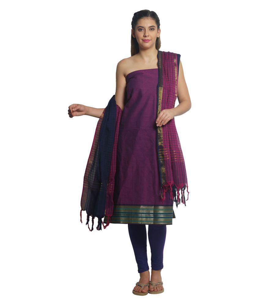 Platinum Purple Cotton Dress Material