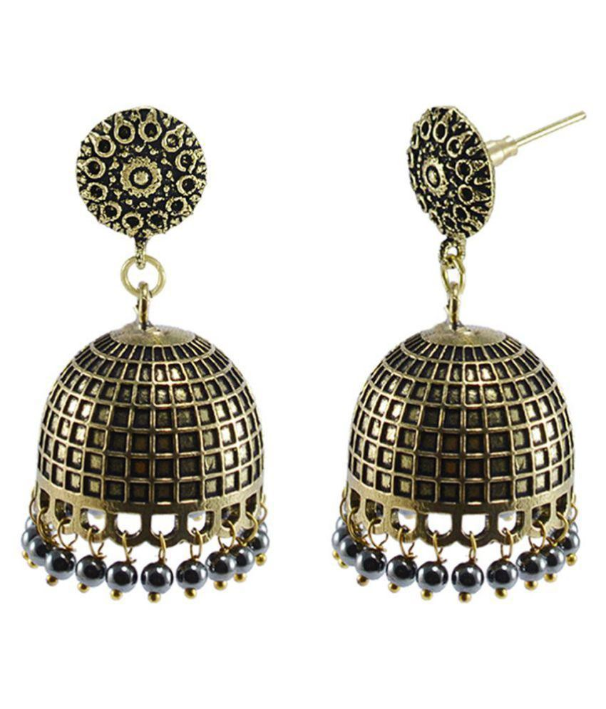 Silvesto India Temple Jhumki Earrings With Hematite Beads-Jaipurn Garba Festival Jewellery PG-127495
