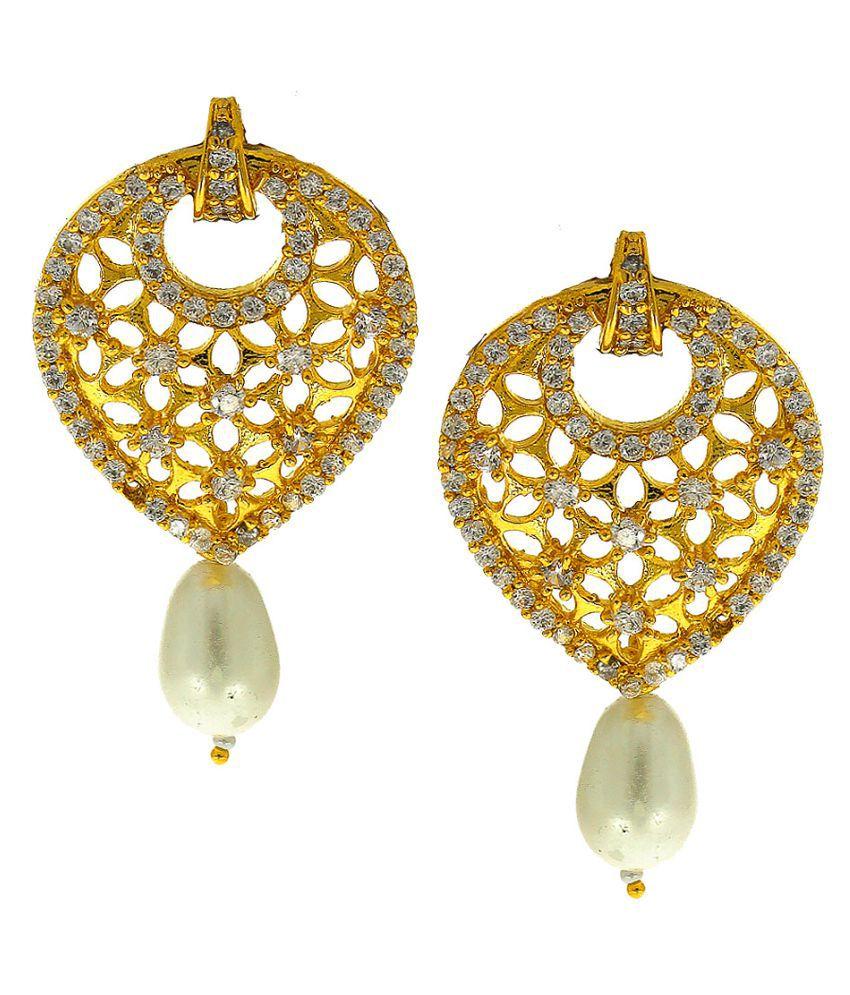 Anuradha Art Gold Finish Styled With American Diamond Wonderful Designer Traditional Earrings For Women/Girls
