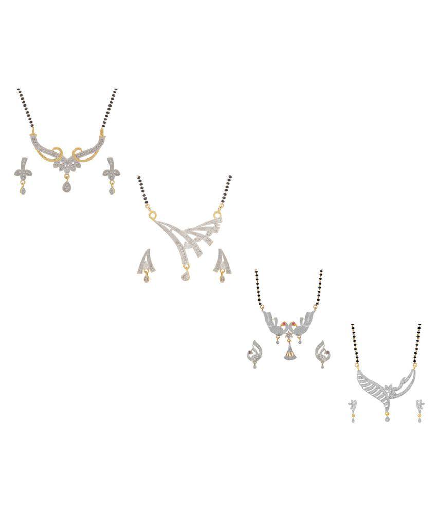 Aabhu Fashionable Combo of 4 Amercian Diamond Mangalsutra with Earrings Jewellery Set for Women