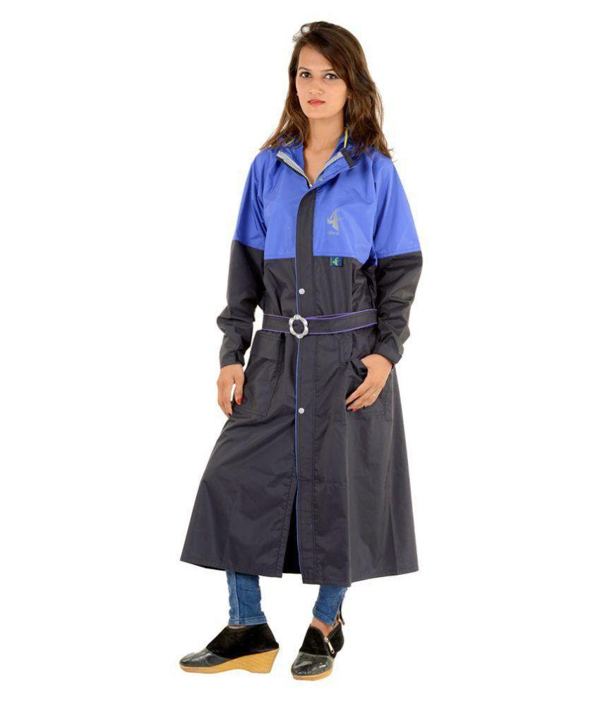 NiceG Long Raincoat - Black