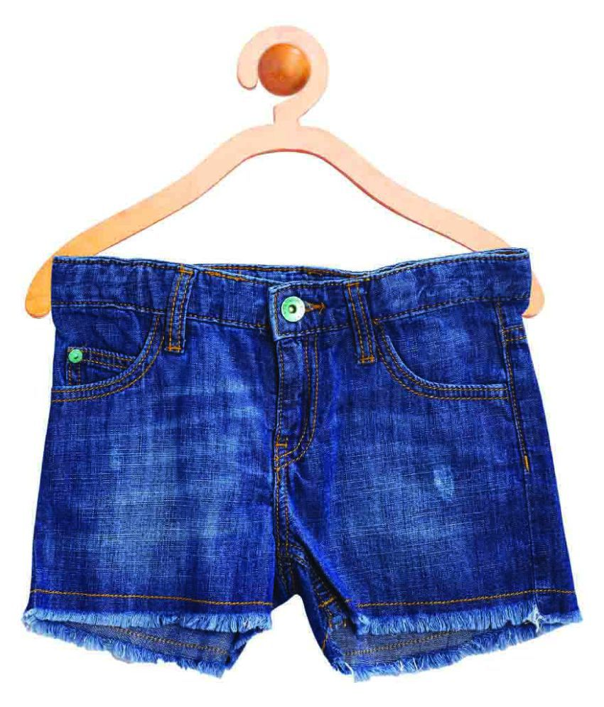 United Colors of Benetton Blue Shorts With Belt And Badge - 16P4DENC0127I902XL
