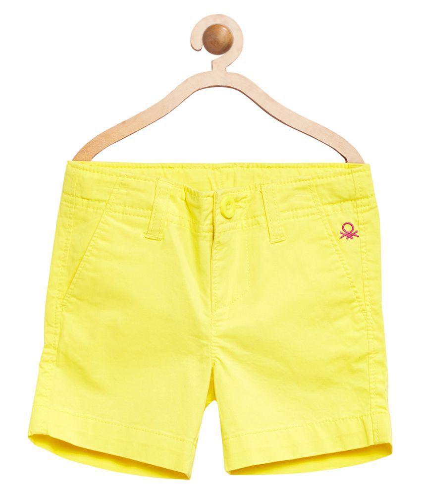 United Colors of Benetton Yellow Basic Long Shorts - 16P4POPC0198I1ADM