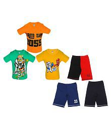 Gkidz Boys Pack of 3 Graphic Print T-Shirts & 3 Pack Fashion Shorts Combo Pack