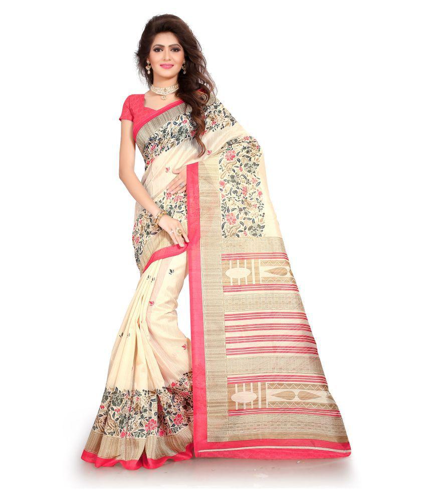 BAILEY SELLS White and Beige Bhagalpuri Silk Saree