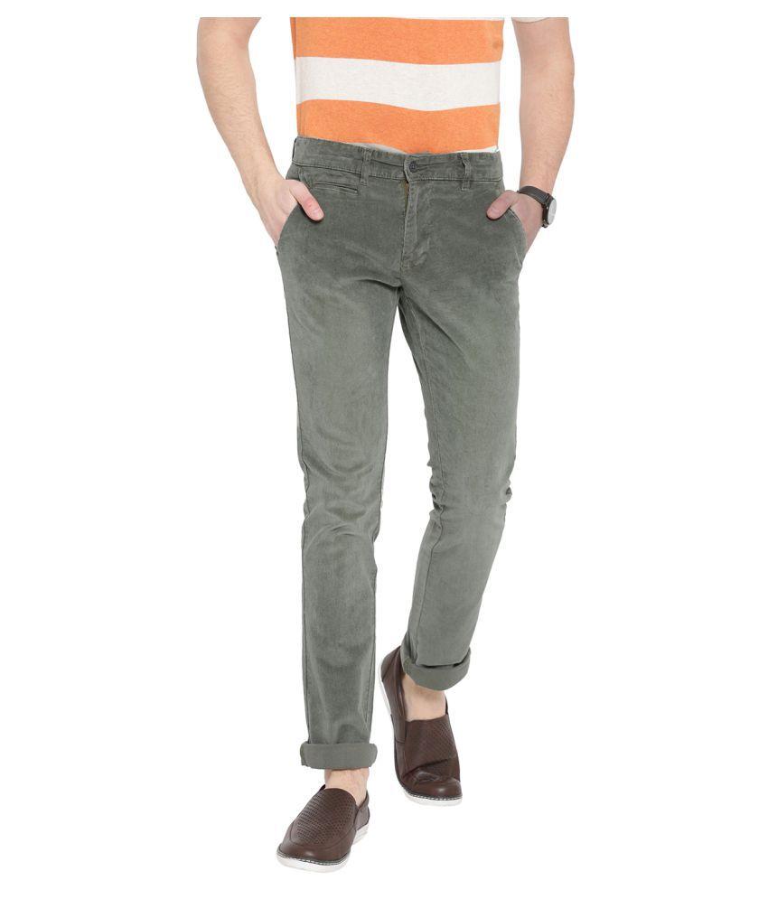 DUKE Dark Green Skinny -Fit Flat Trousers