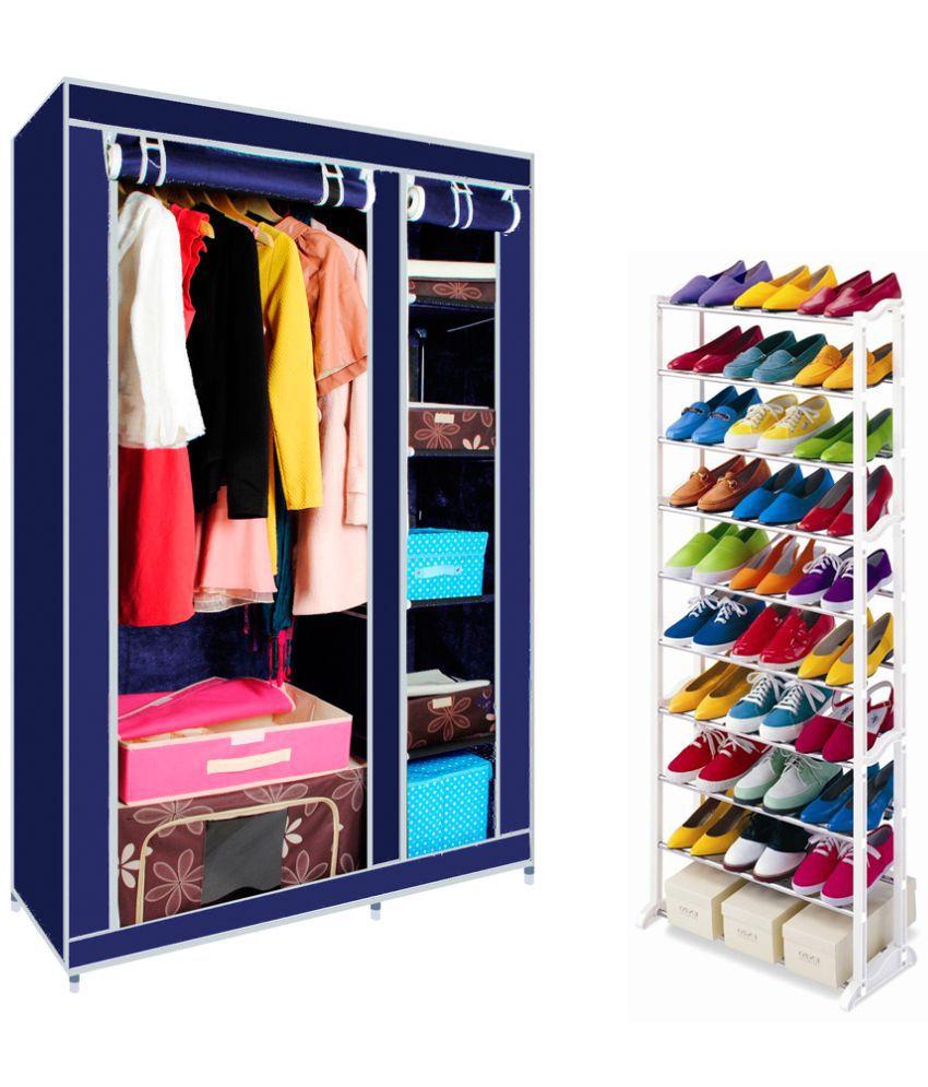 Elegant Double-Sided Foldable Canvas Wardrobe Almirah Cupboard with Amazing Shoe Rack