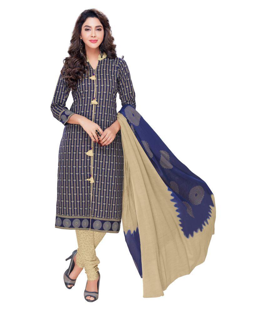 Salwar Studio Blue Cotton Dress Material