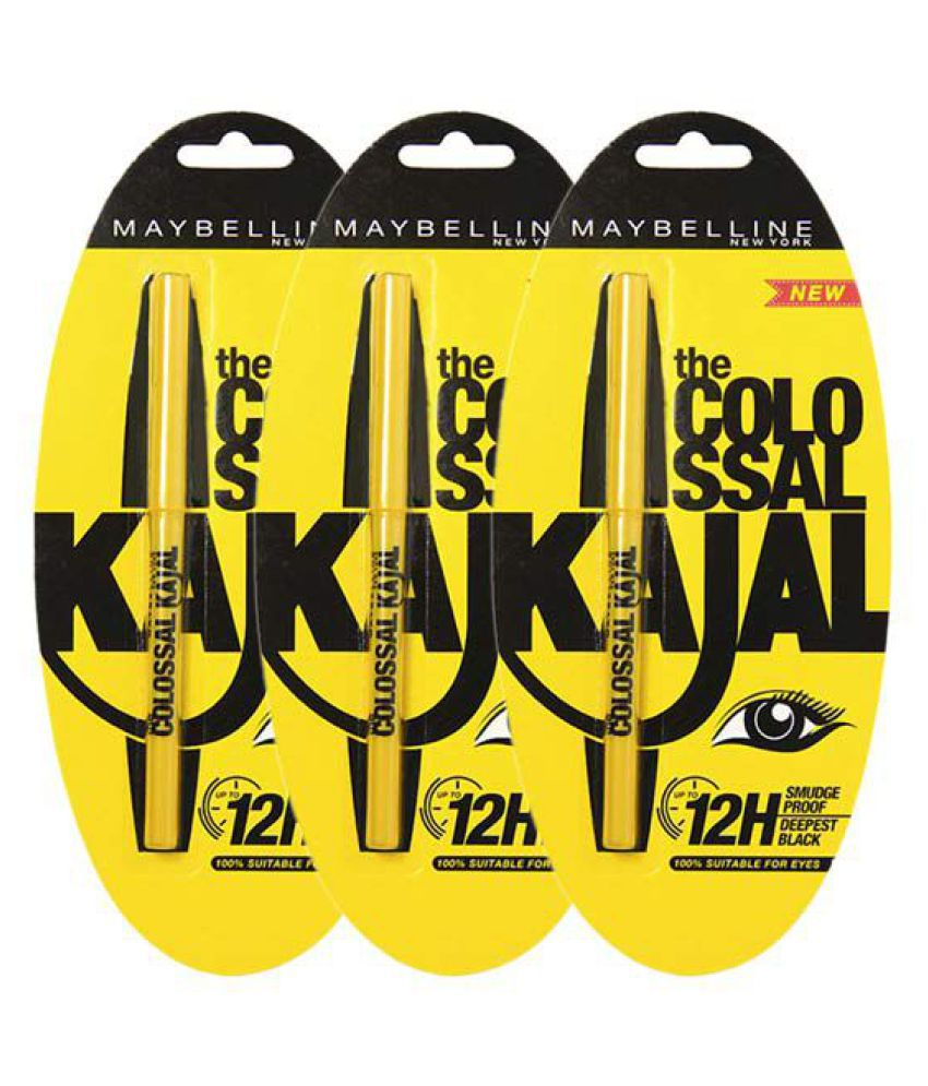 Maybelline New York The Colossal Kajal 12H Smudge Proof Deepest Black Pack of 3