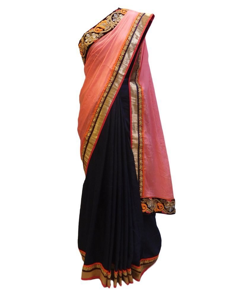 SMSAREE Red and Brown Georgette Saree
