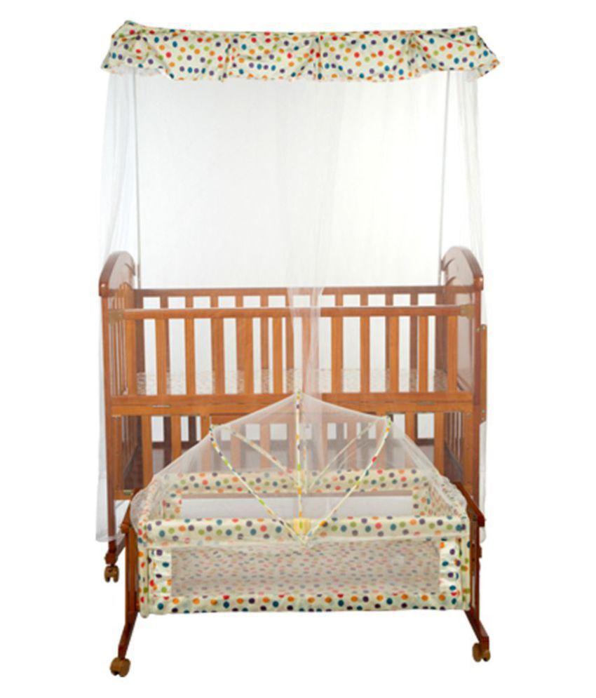 Mee Mee Baby Wooden Cot (With Cradle, Swing & Mosquito Net , Brown)