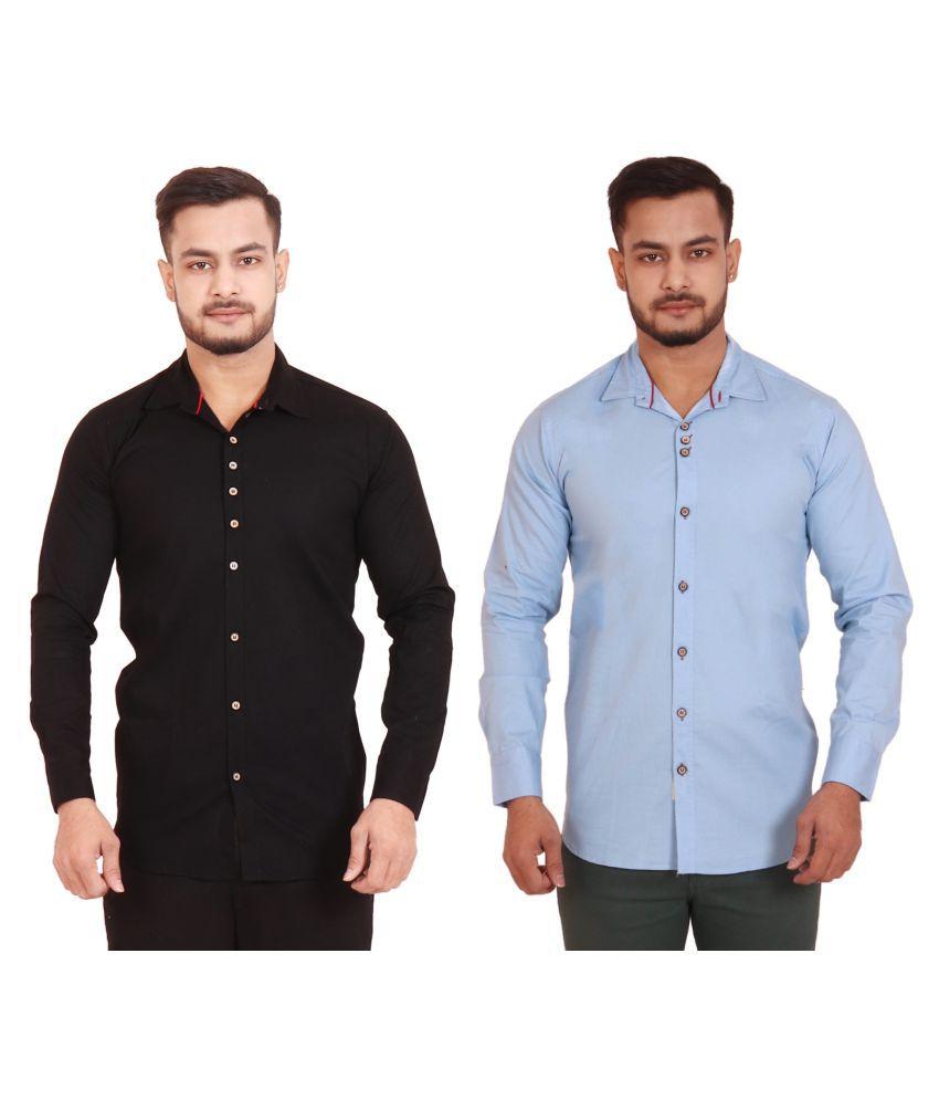 REDMAPLEJEANS Black Regular Fit Shirt Pack of 2