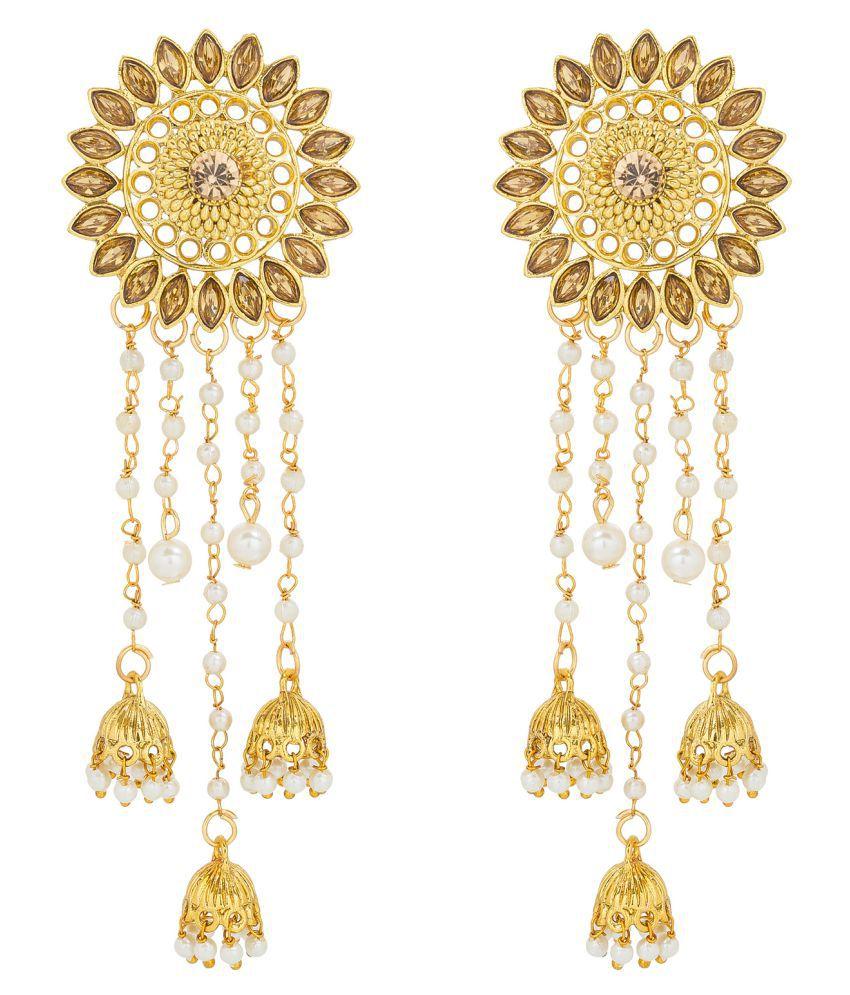 Aadita American Diamond And Pearls Attractive Bahubali Jhumki With Tassel Earrings Set