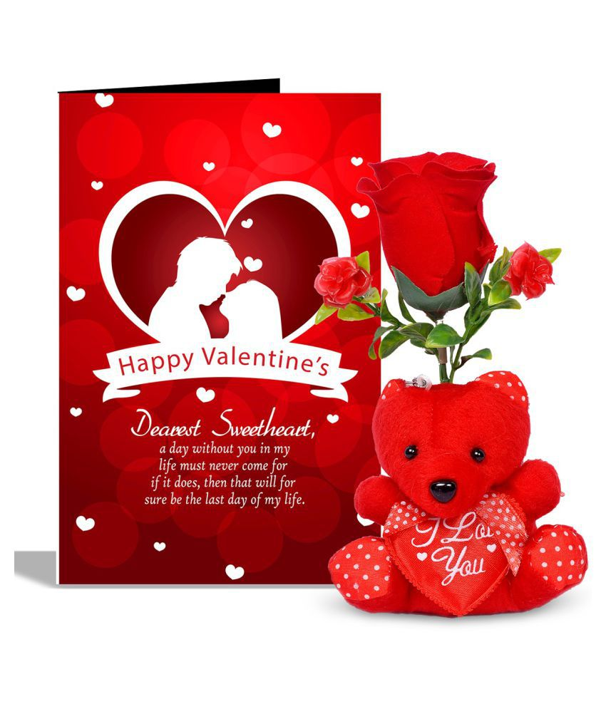 Happy Valentines Day Valentines Day Greeting Card With 1 Rose Red