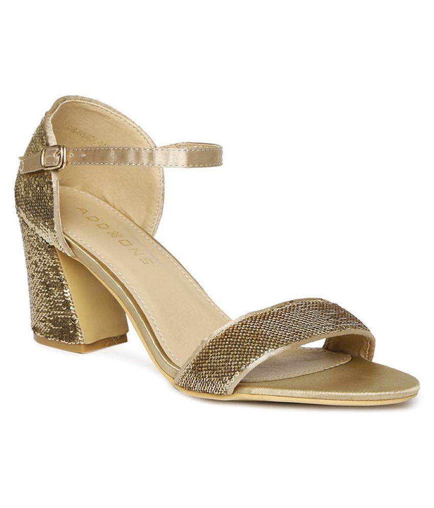 Addons Gold Block Heels
