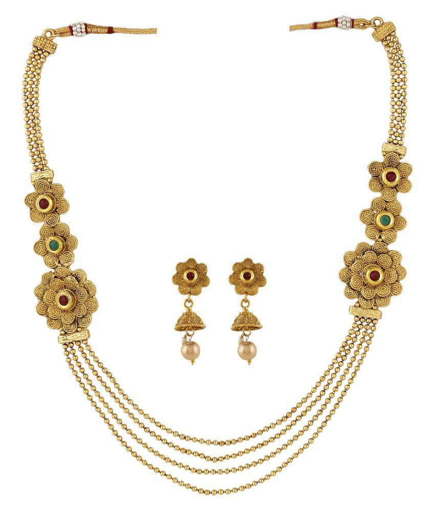 FJ STYLE TRADITIONAL GOLD PLATED DESIGNER NECKLACE SET