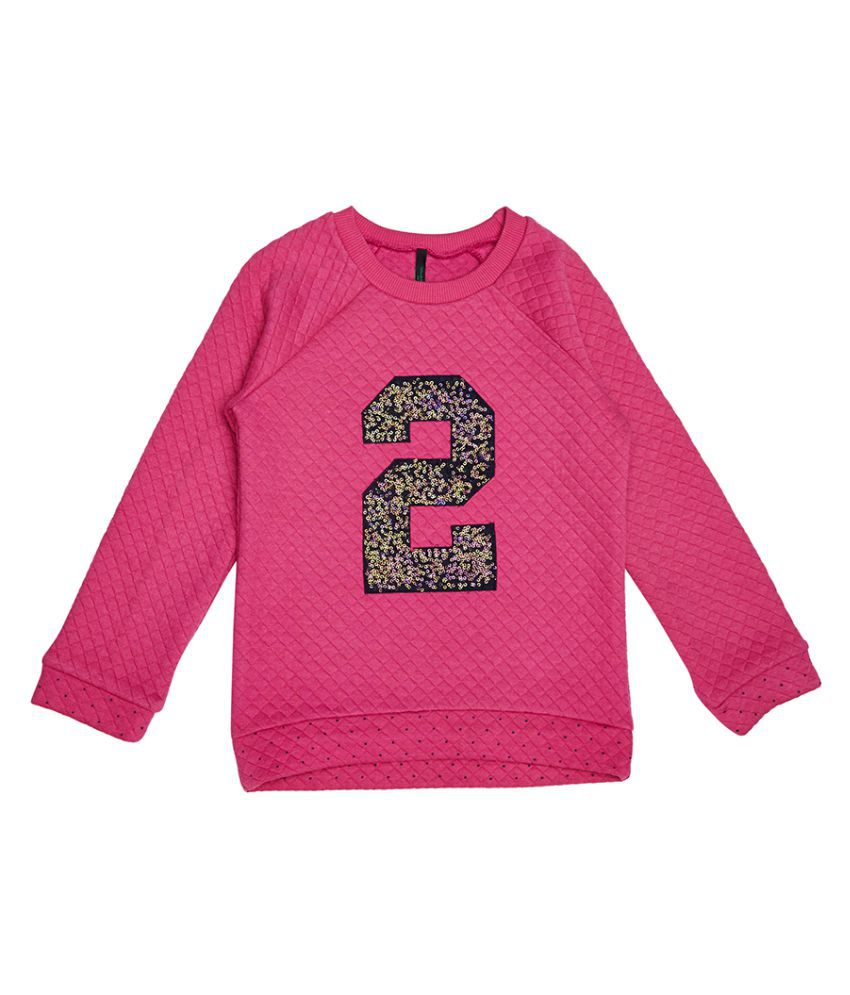 United Colors of Benetton Quilted Sweatshirt With 2 In Sequence - 16A3QT6C12AJIK20S