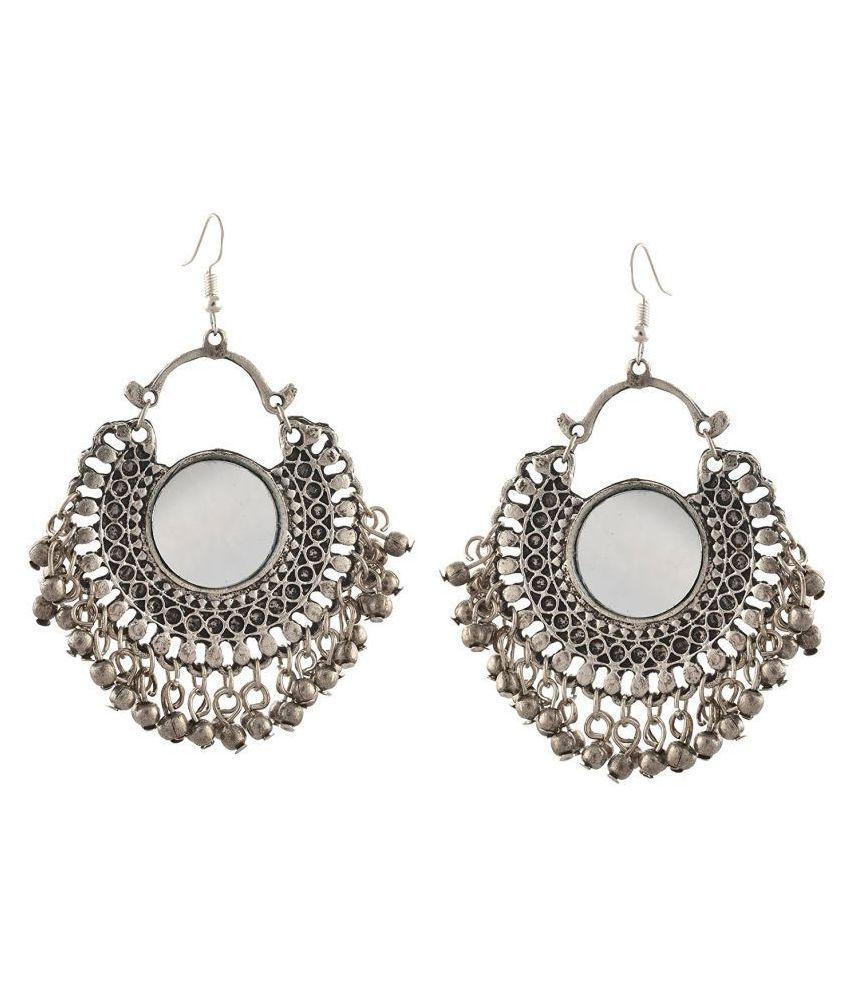 c31d6ec52 Aabhu Afghani Designer Vintage Oxidised German Silver Tribal Hoop Dangler  Hanging Mirror Chandbali Earring Antique Jewellery for Girls & Women - Buy  Aabhu ...