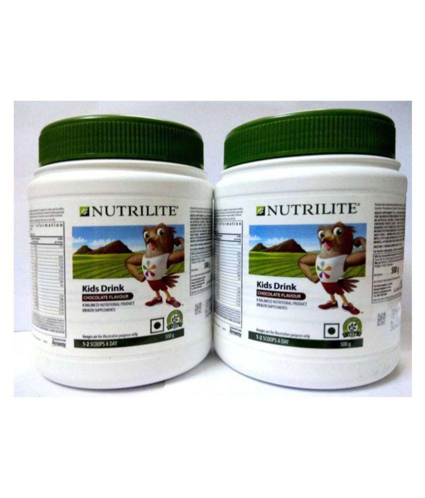 Amway Nutrilite Kids Drink 500 G Pack Of 2 Health Drink Powder 2 gm Chocolate Pack of 2
