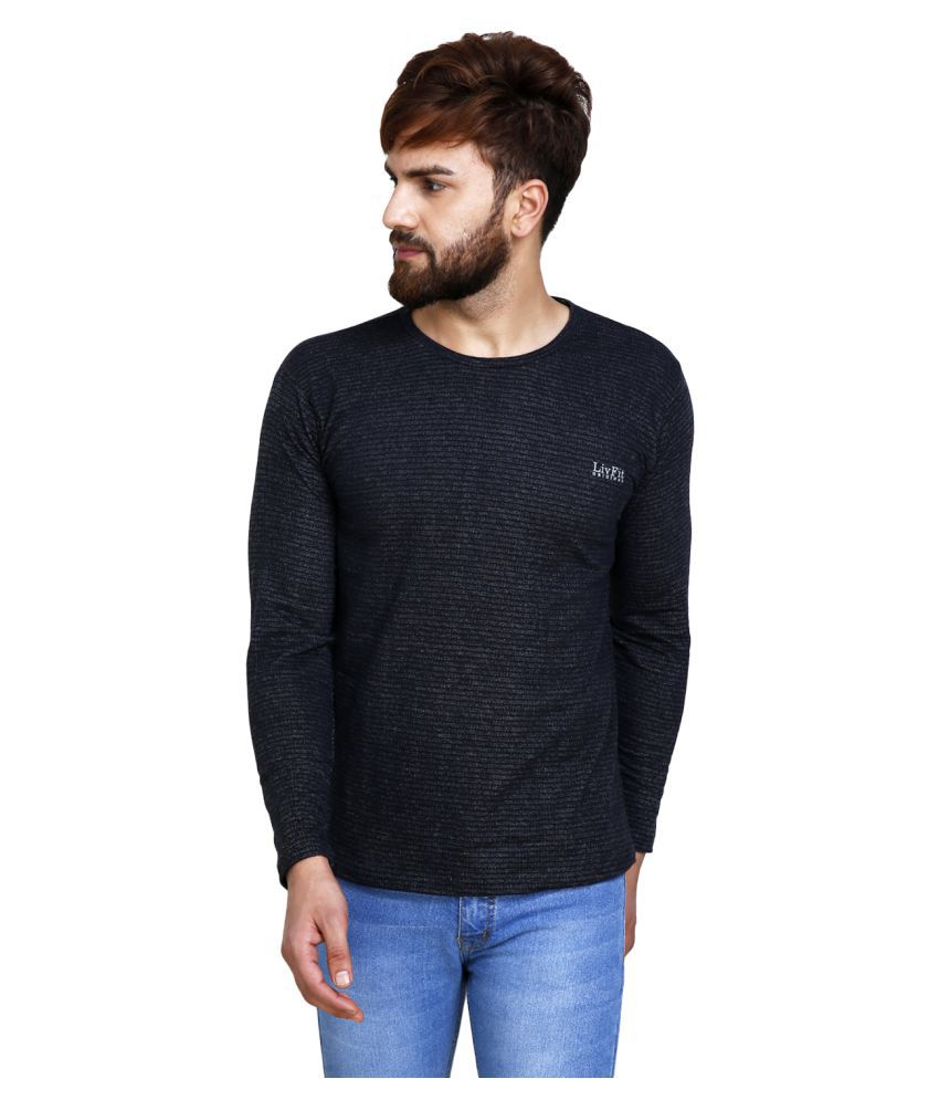 LivFit Black Round T-Shirt Pack of 1