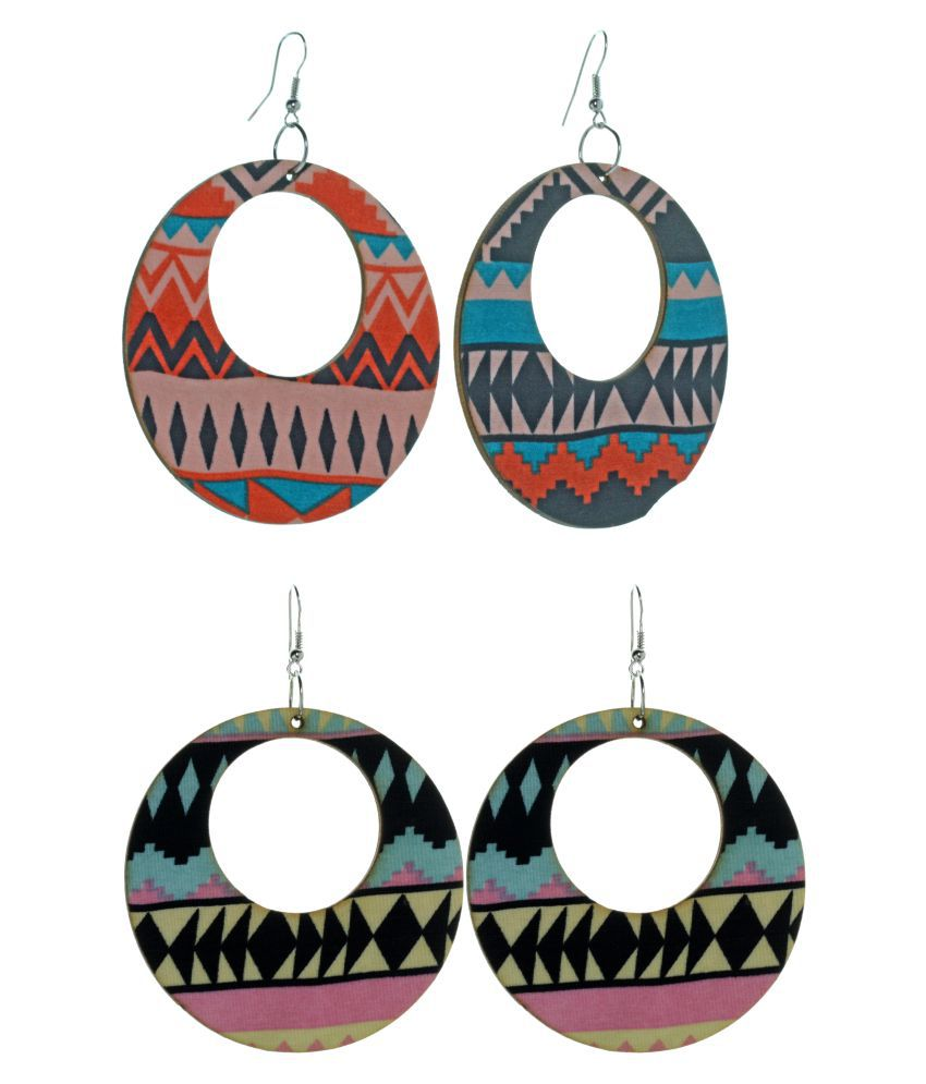 Three Shades Artificial Classic Multicolour Round Set of 2  Wooden Dangle Earring for Girls