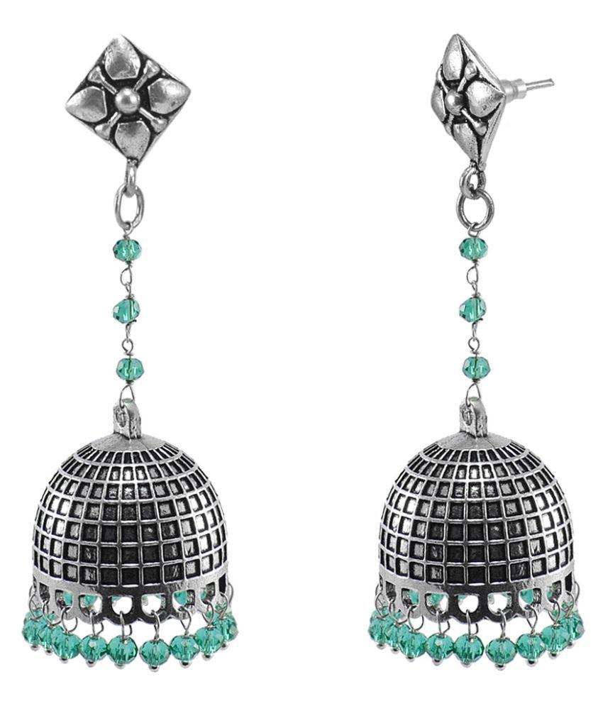 Silvesto India Eternity Wear Silver Polished Jhumkas Earring With Green Aqua Crystal Beads Studs Jhumki PG 119472