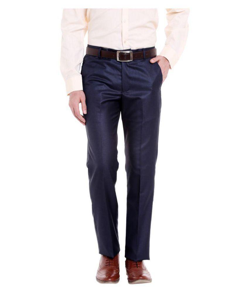 Solemio Navy Blue Regular -Fit Flat Trousers