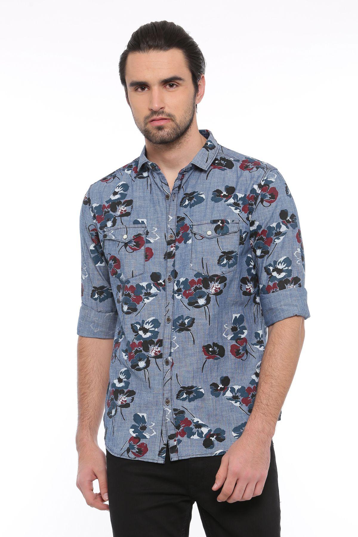 showoff blue Slim Fit Shirt