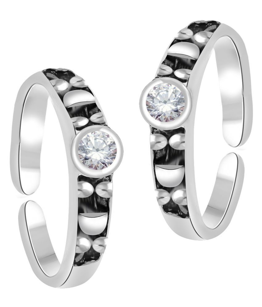 Oviya Rhodium Plated Eternal Love Toe Rings with Crystal Stones for girls and women TR2101008RWhi