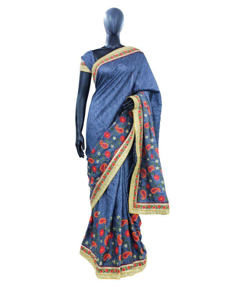 The Holy Mart Blue and Grey Silk Saree