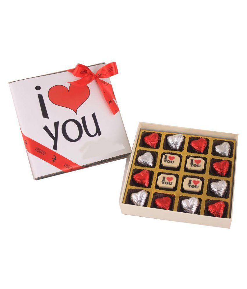 Zoroy Luxury Chocolate Box of 16 Hearts and love Assorted Box Valentines day Love Chocolate Gift 500 gm
