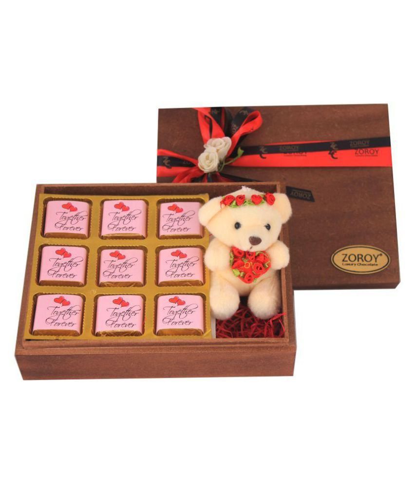 ZOROY LUXURY CHOCOLATE Wooden Love box with teddy Assorted Box Valentines day Love Gift 1000 gm