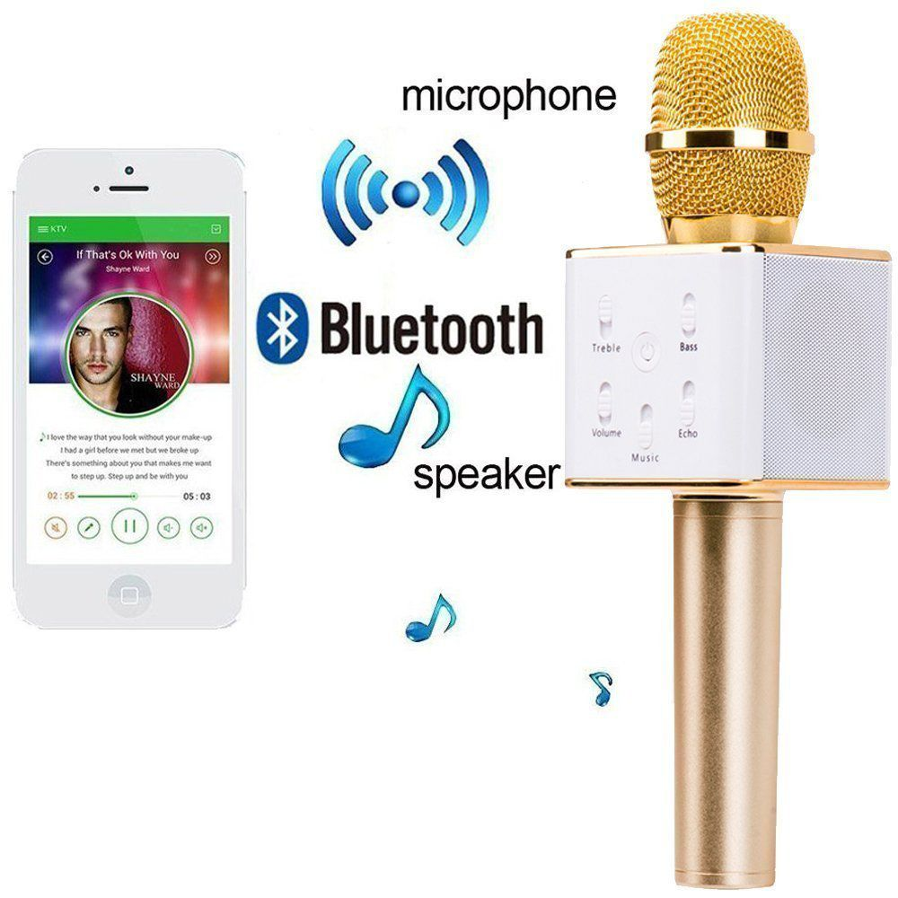 Portable Wireless Karaoke Mic With Inbuilt Microphone Hifi Speaker Sing A Song Q7