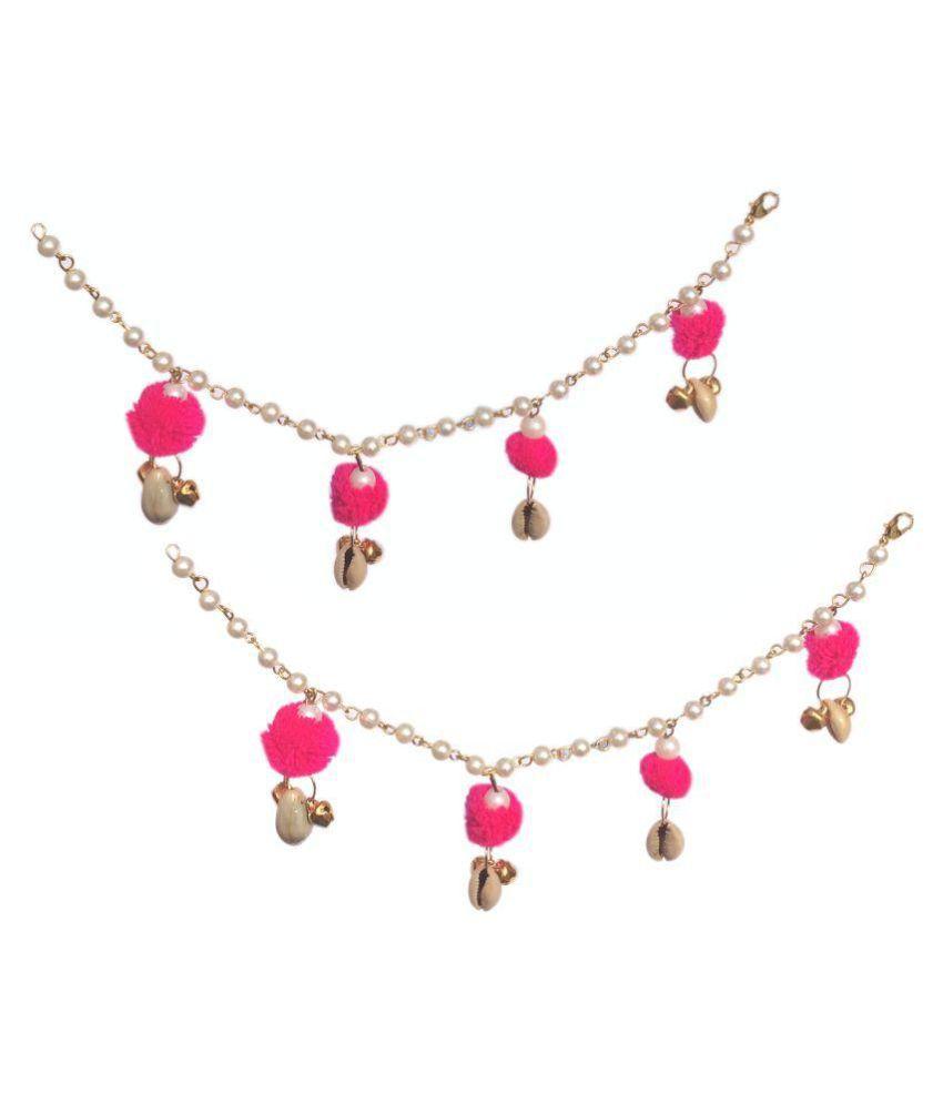 Loops n knots Handmade Anklets To Match With Gota Patti/ Flower / Pompom Jewellery Anklets /Payal for Women / Girls / Bride / Bridal / Wedding / Haldi / Mehandi (js009)