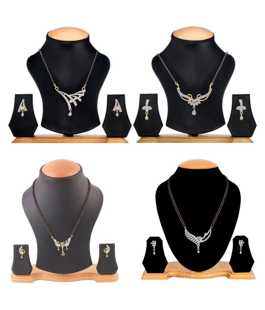 Aabhu Traditional Combo of 4 Amercian Diamond Mangalsutra with Earrings Jewellery Set for Women