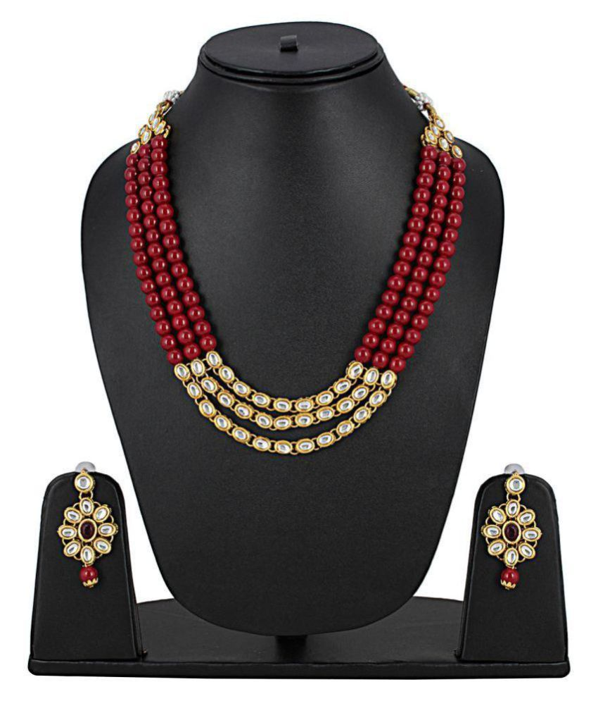 820baa02006 Aradhya Traditional Designer Maroon Beads Kundan Necklace Set with Earrings  for Women and Girls