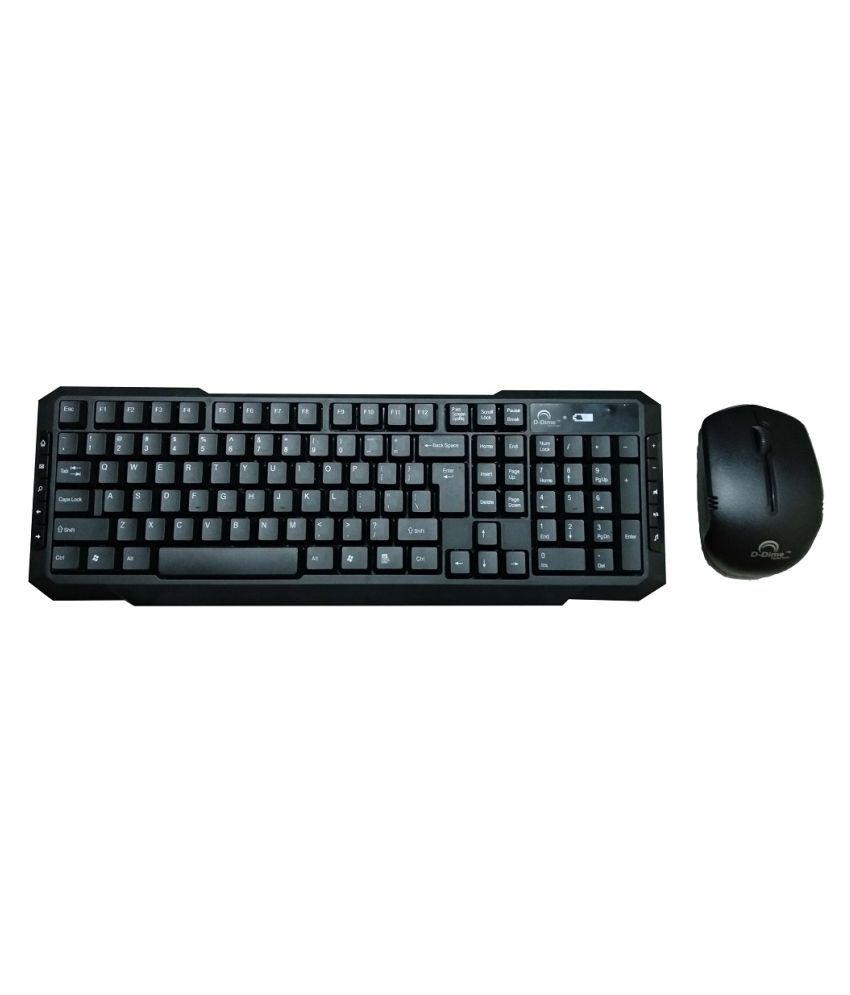 D-Dime D110 Wireless Keyboard Mouse Combo With Multimedia Keys (Wireless, Black)