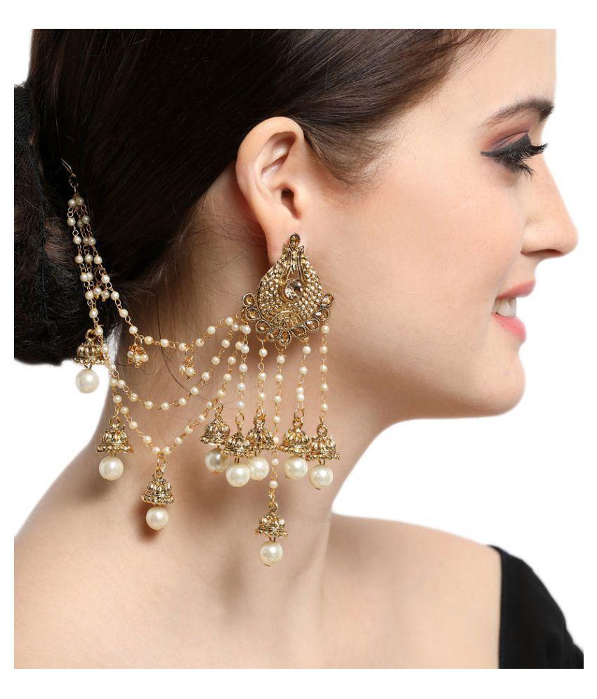 Ethnic Gold Plated Bahubali Jhumki Hair Chain Earrings