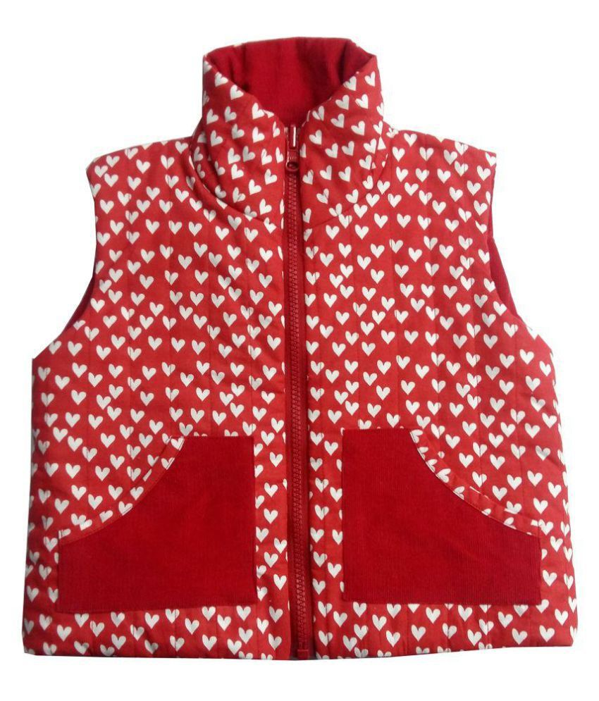 Girls Red Heart Red Corduroy Jacket