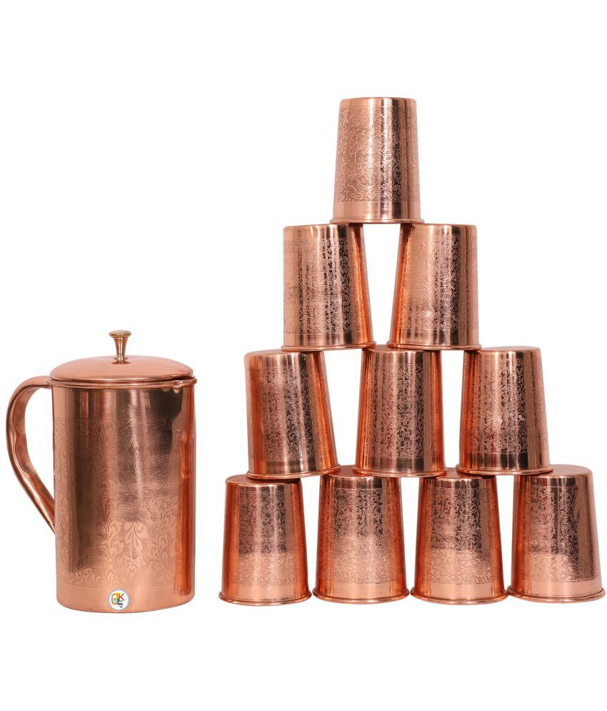 KDT Copper Jug Pitcher With 10 Glass 11 Pcs Jug and Glass Combo