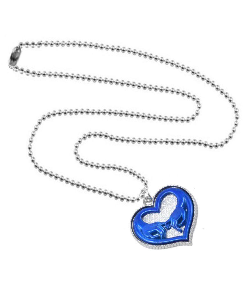 Shiv Jagdamba Valentine Day Gift Couple Holding Love Heart Locket Blue Silver Zinc Alloy Heart Pendant Necklace